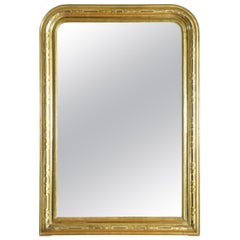 French Louis Philippe Shaped Giltwood and Stencil Gilt Mirror