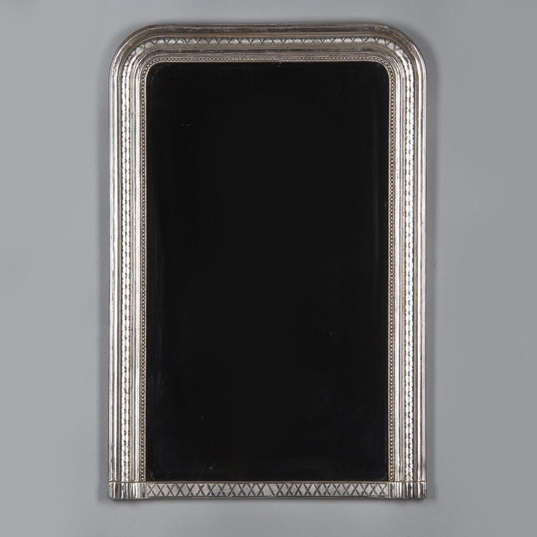 Silvered French Louis Philippe Silver Leaf Mirror, Mid-1800s For Sale