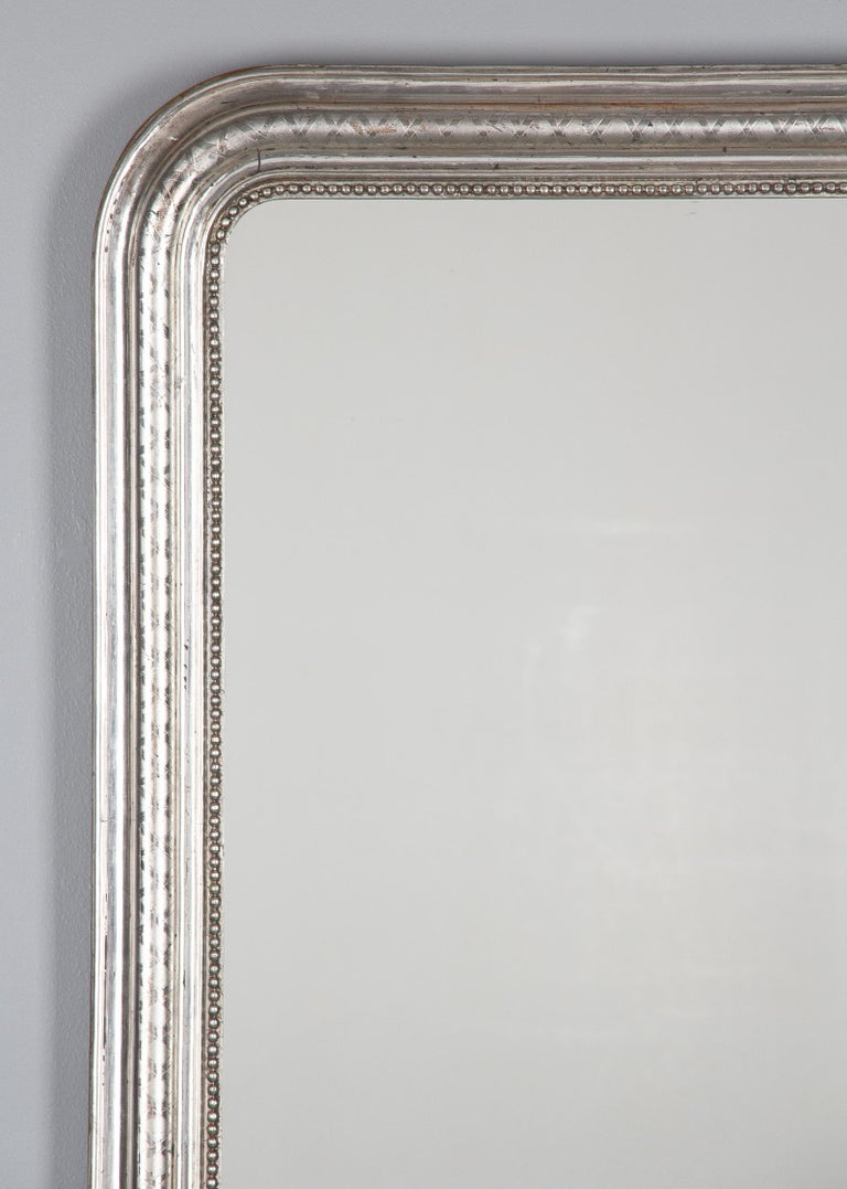 19th Century French Louis Philippe Silver Leaf Mirror, Mid-1800s For Sale