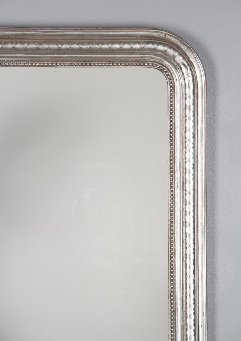 Wood French Louis Philippe Silver Leaf Mirror, Mid-1800s For Sale