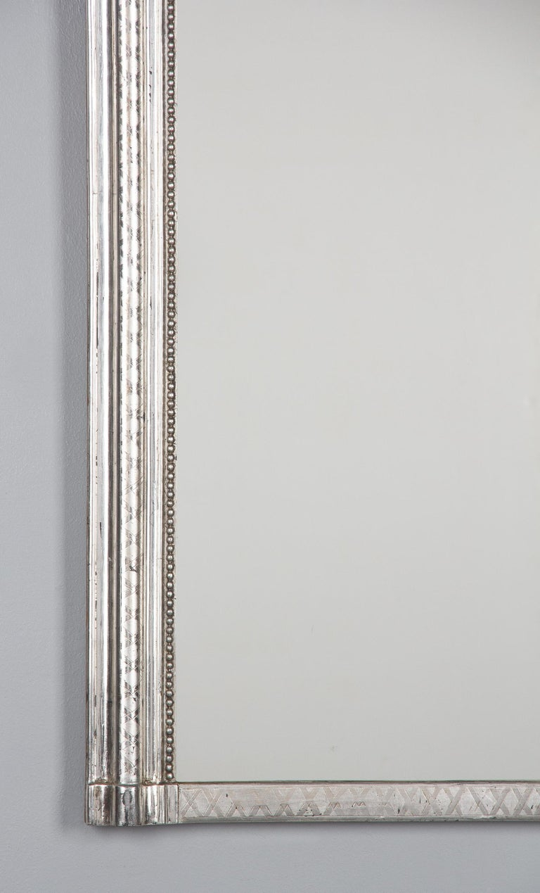 French Louis Philippe Silver Leaf Mirror, Mid-1800s For Sale 2