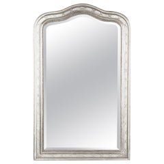 French Louis Philippe Silver Leaf Mirror, Mid-1800s