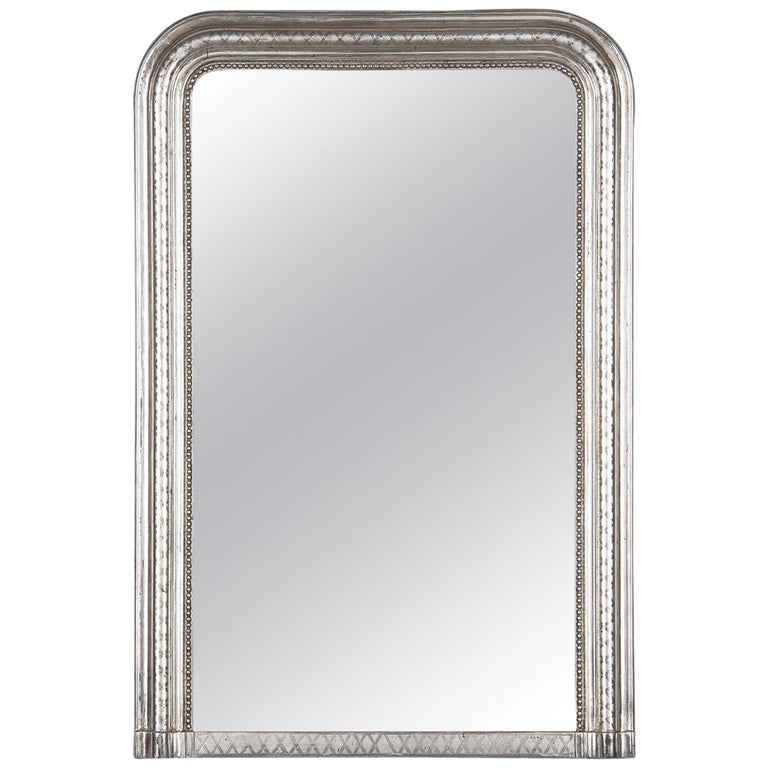 French Louis Philippe Silver Leaf Mirror, Mid-1800s For Sale