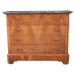 French Louis Philippe Style Black Marble Top Four Drawer Chest of Drawers