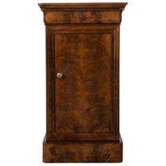 French Louis Philippe Style Book Matched Walnut Nightstand Side Table circa 1900