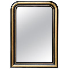 French Louis-Philippe Style Mirror with Ebonized Frame and Gilt Accents, 1900s