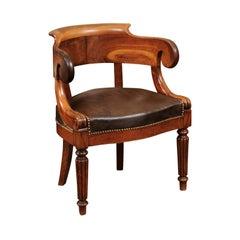 French Louis Philippe Walnut Desk Chair, circa 1840