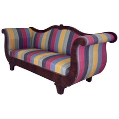 French Louis Phill Bench, Day Bed in Mahogan Yellow Blue Red Soft Stipes Fabric