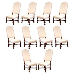 French Louis XIII Carved Walnut Dining Chairs with Muslin Upholstery, Set of 10