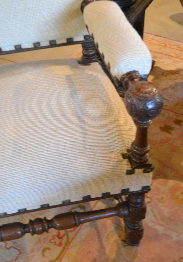 Carved French Louis XIII Fauteuil For Sale