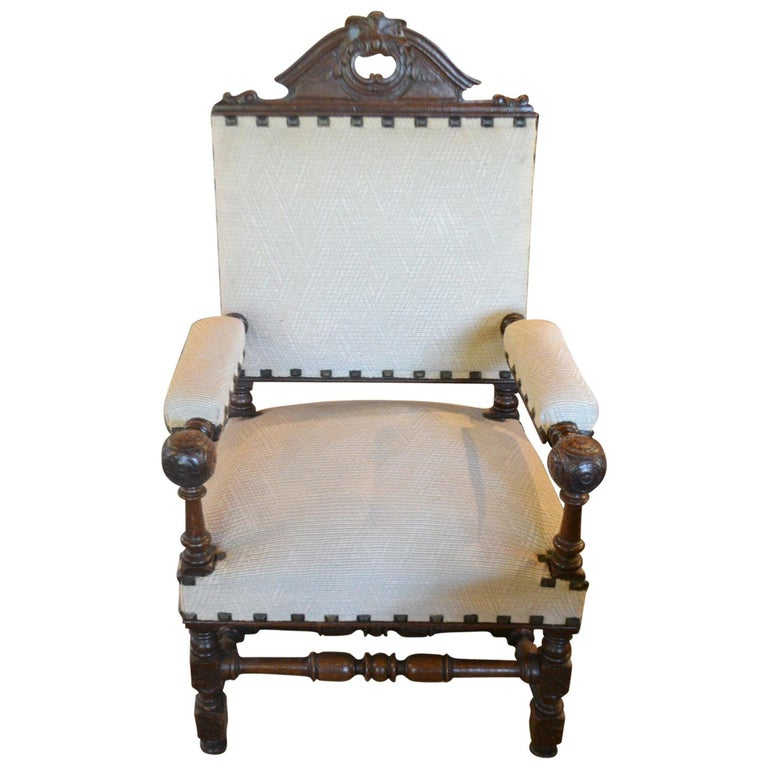 French Louis XIII Fauteuil For Sale