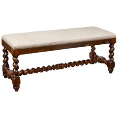 French Louis XIII Style 1880s Walnut Barley Twist Bench with New Upholstery