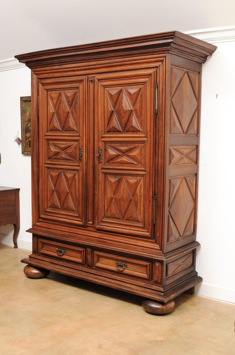 French Louis XIII Style 19th Century Walnut Armoire with Raised Diamond Motifs For Sale 7