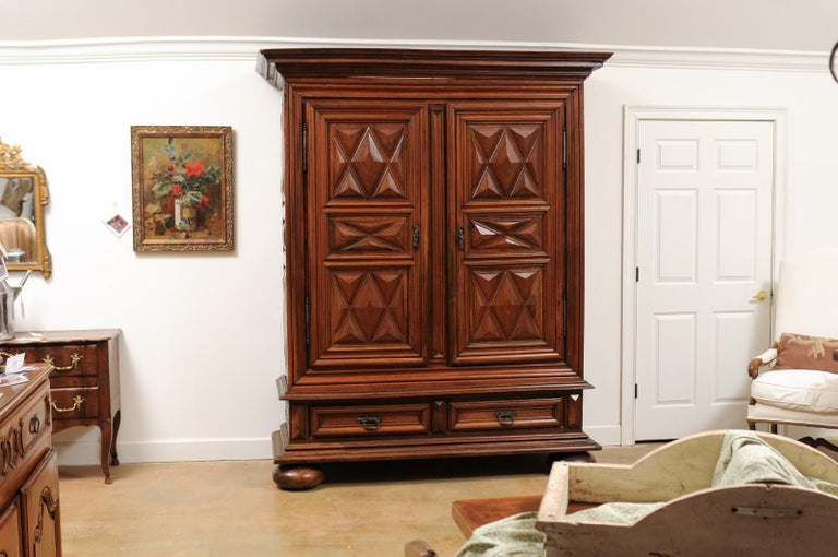 French Louis XIII Style 19th Century Walnut Armoire with Raised Diamond Motifs In Good Condition For Sale In Atlanta, GA