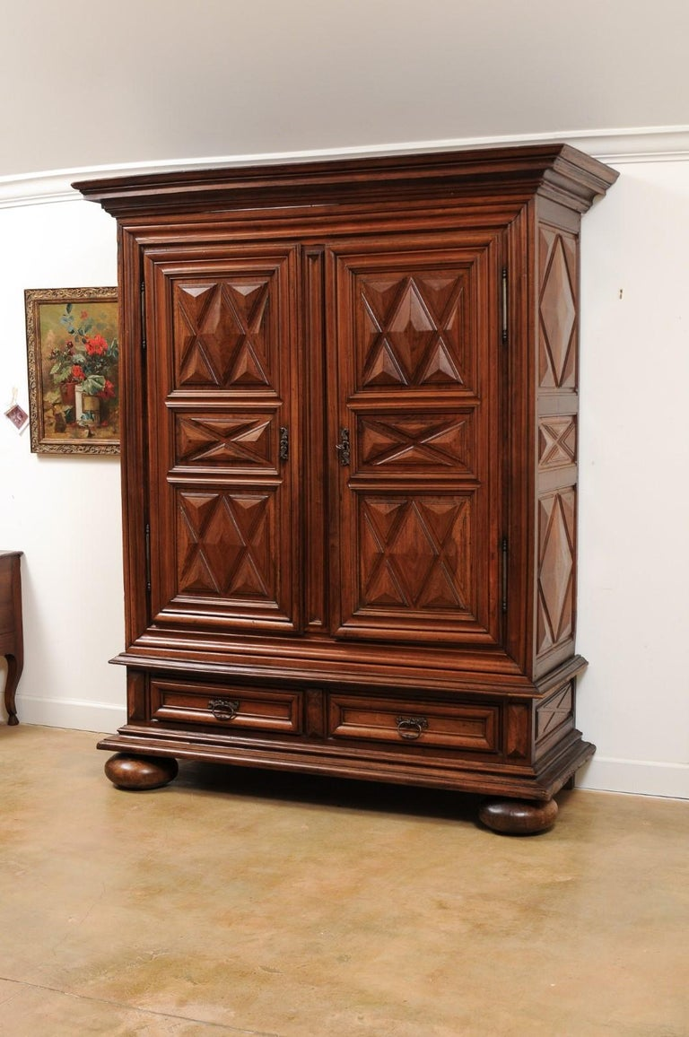 French Louis XIII Style 19th Century Walnut Armoire with Raised Diamond Motifs For Sale 1