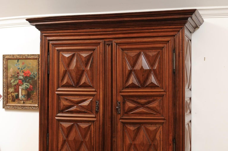 French Louis XIII Style 19th Century Walnut Armoire with Raised Diamond Motifs For Sale 3