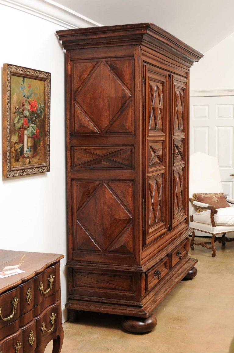 French Louis XIII Style 19th Century Walnut Armoire with Raised Diamond Motifs For Sale 6