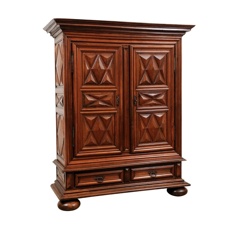 French Louis XIII Style 19th Century Walnut Armoire with Raised Diamond Motifs For Sale