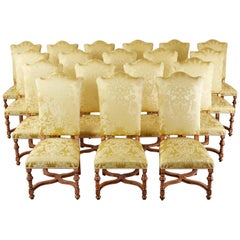 French Louis XIII Style Dining Chairs, Eighteen Available