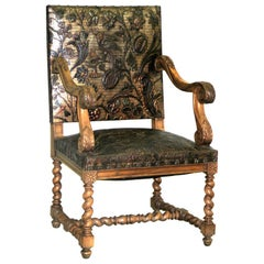French Louis XIII Style Hand Tooled Leather Throne/ Armchair/ Lounge Chair, 1930