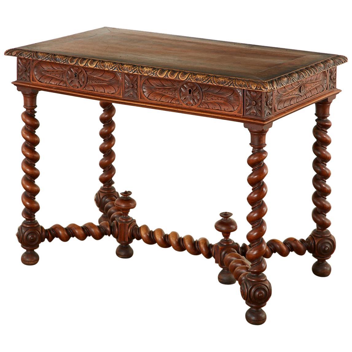 French Louis XIII Style Oak Barley Twist Library Table Desk