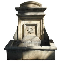 French Louis XIII Style Wall Fountain Handcrafted in Pure Limestone