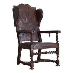 French Louis XIII Turned Walnut Leather Upholstered Reclining Armchair