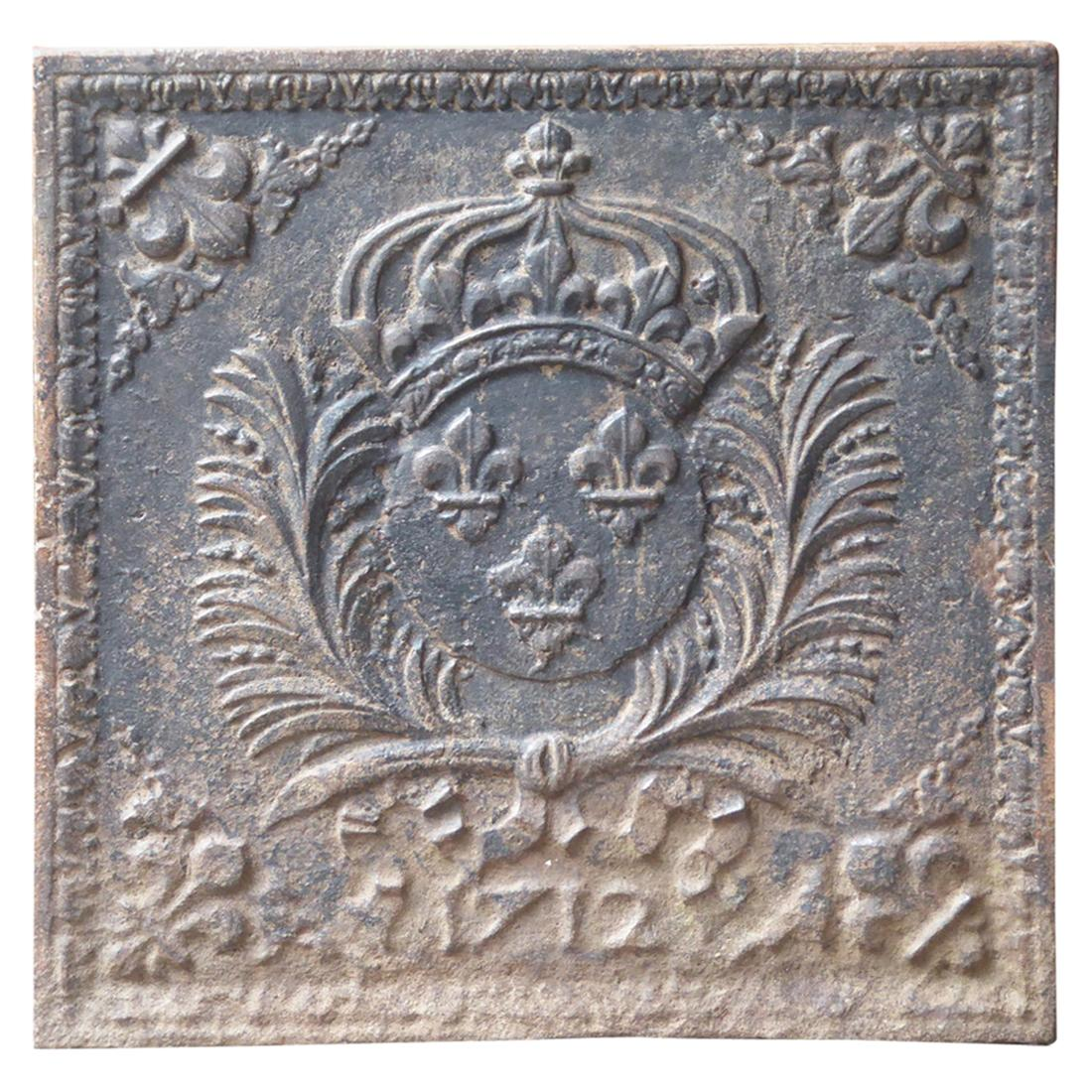 French Louis XIV Arms of France Fireback, 18th Century
