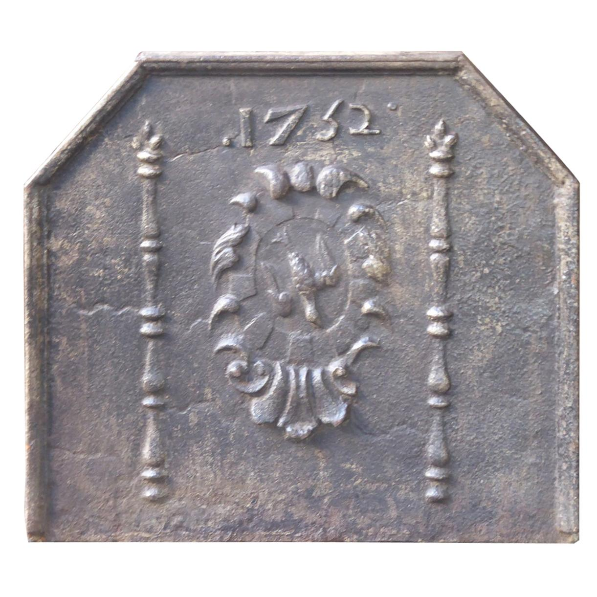 French Louis XIV 'Coat of Arms' Fireback, 18th Century
