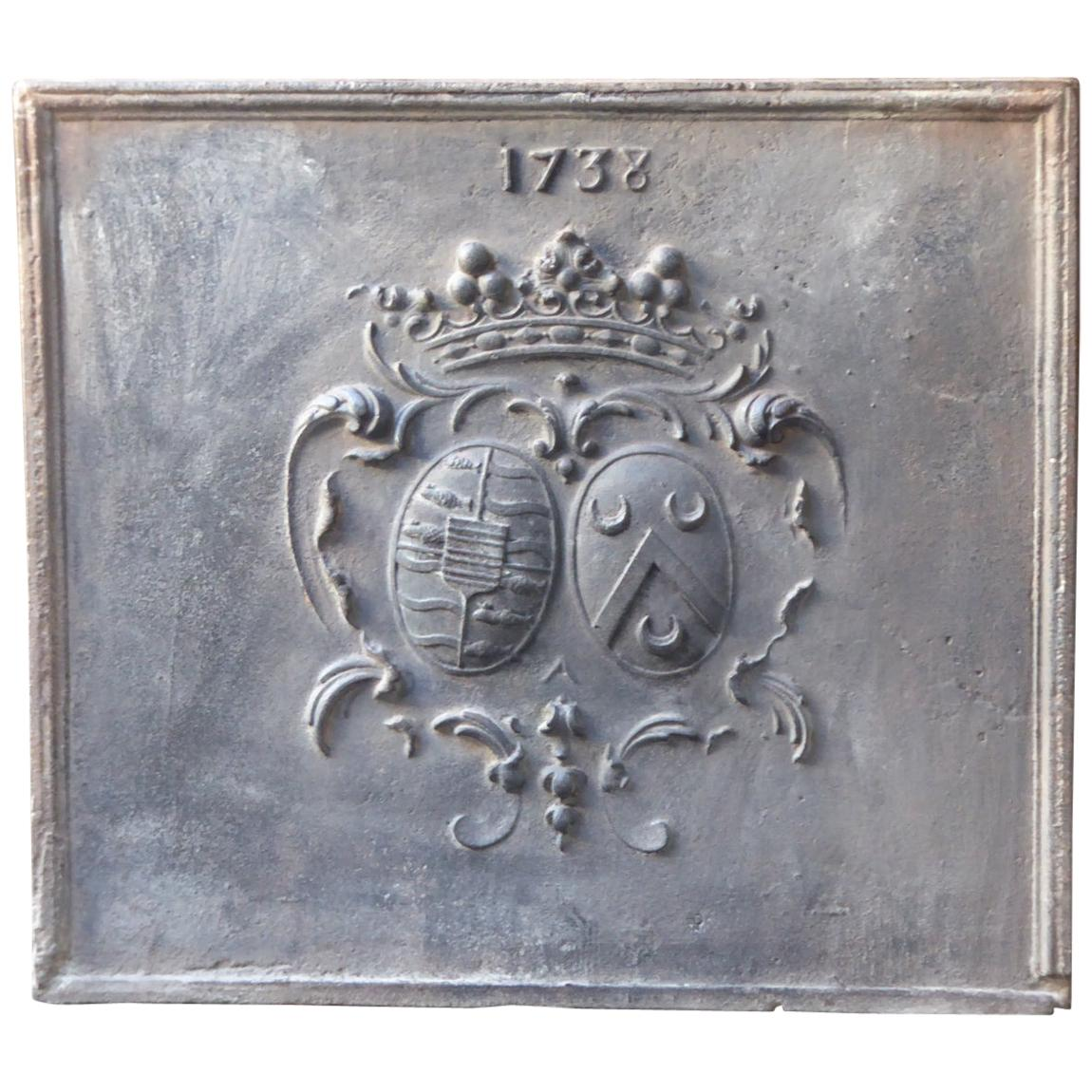 French Louis XIV Coat of Arms Fireback, 18th Century