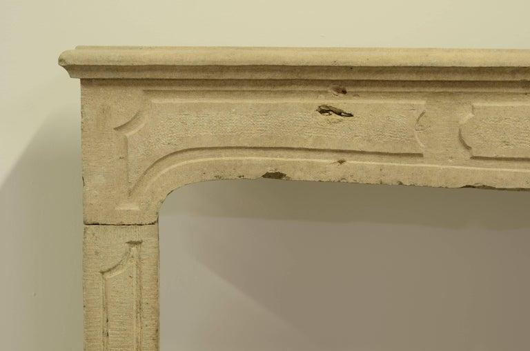 Limestone French Louis XIV Fireplace Mantel For Sale
