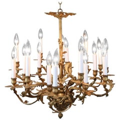 French Louis XIV Foliate Form Eighteen-Light Branch Chandelier, circa 1910