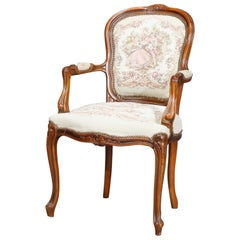 French Louis XIV French Fauteuil Tapestry Carved Walnut Armchair, 20th Century