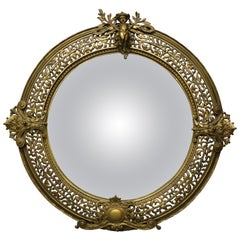 French  Louis XIV Gilt Meta Figural Cherub Bullseye Wall Mirror, circa 1880