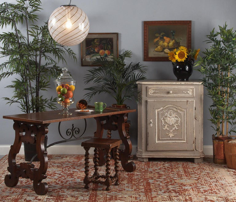 French Louis XIV Painted Oak Confiturier Cabinet, 18th Century For Sale 9