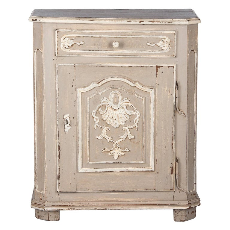 French Louis XIV Painted Oak Confiturier Cabinet, 18th Century For Sale