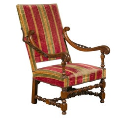 French Louis XIV Style 19th Century Reclining Armchair with Turned Base