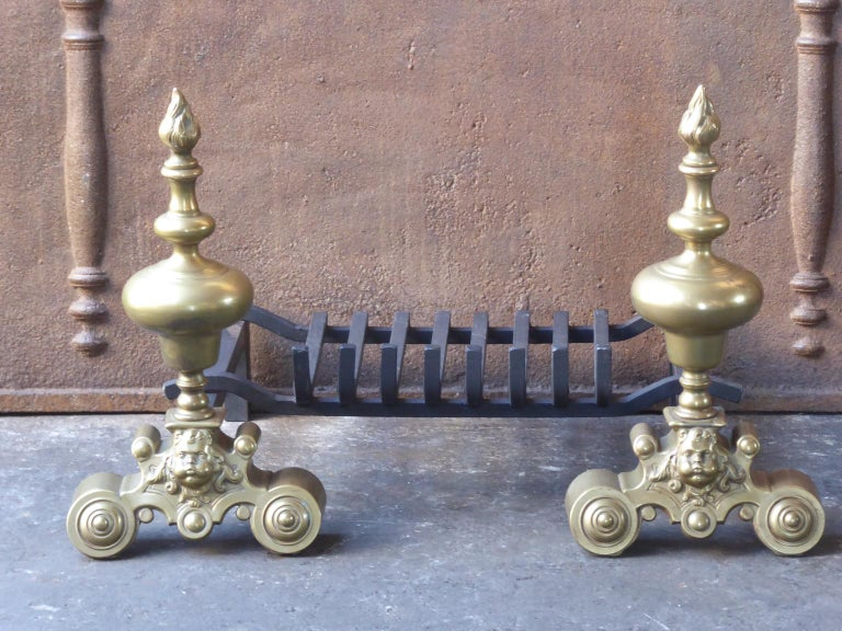 French Louis XIV Style Andirons or Firedogs For Sale 4