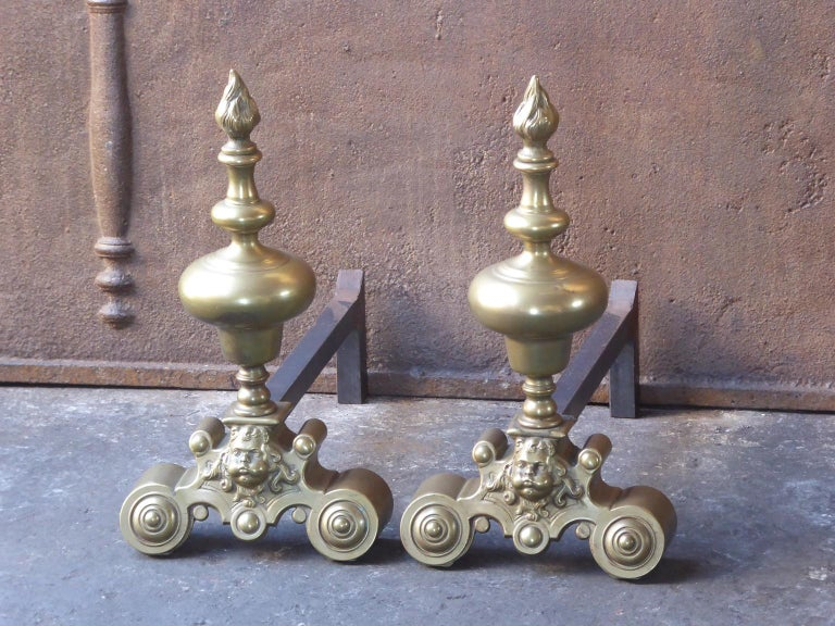 Forged French Louis XIV Style Andirons or Firedogs For Sale