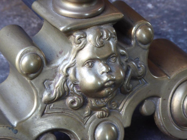 Brass French Louis XIV Style Andirons or Firedogs For Sale