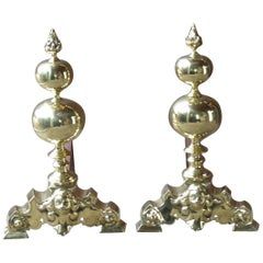 Large French Louis XIV Style Andirons or Firedogs, Polished Brass