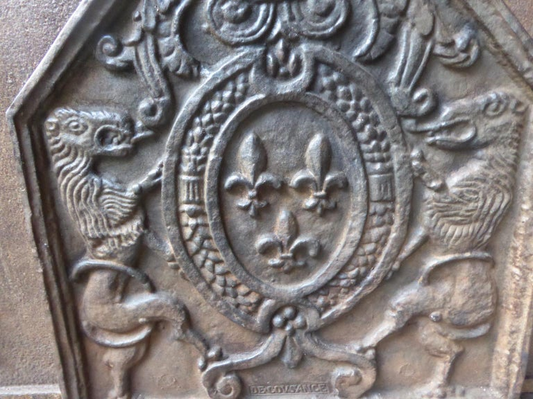 20th Century French Louis XIV Style 'Arms of France' Fireback