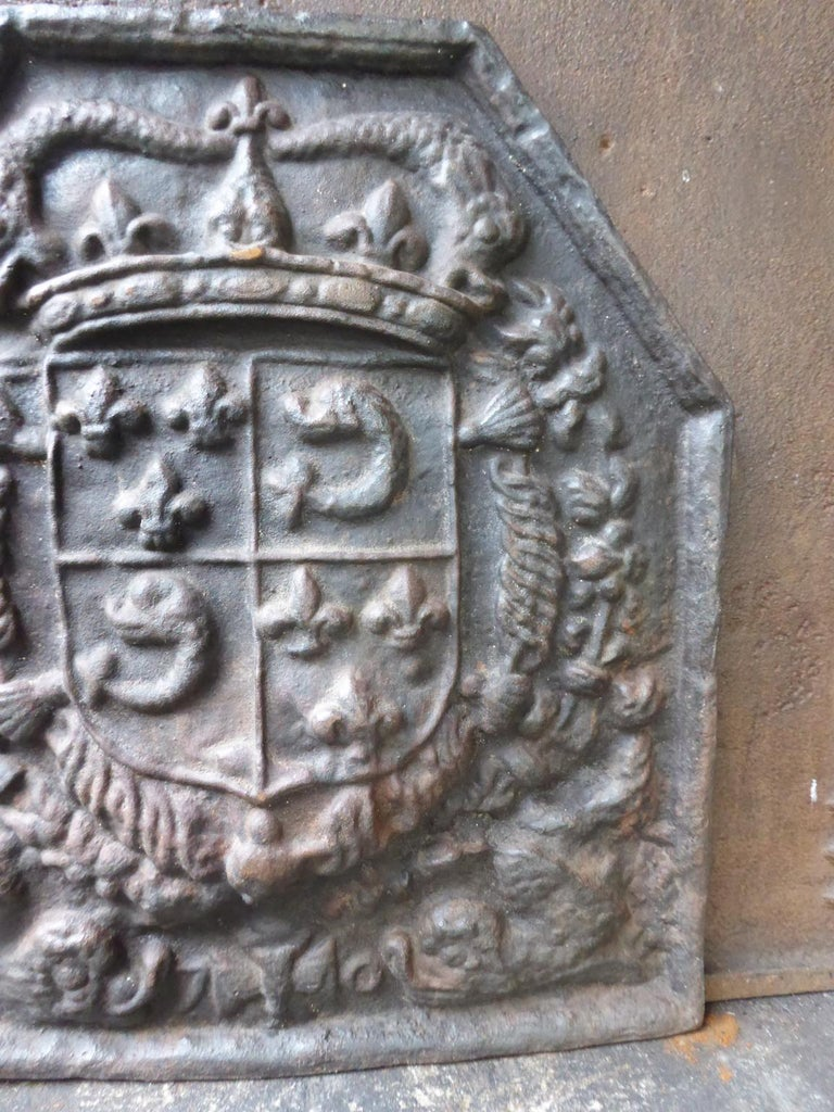 Iron French Louis XIV Style 'Arms of France' Fireback For Sale