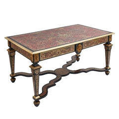 French Louis XIV Style Boulle Desk with Tortoiseshell and Brass Inlay