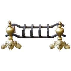 French Louis XIV Style Fire Grate, Fireplace Grate
