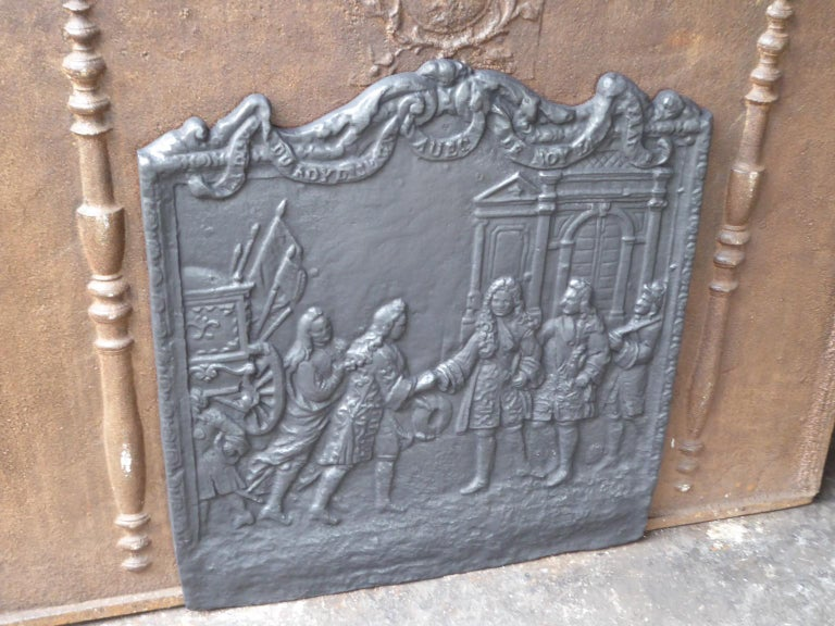 Cast French Louis XIV Style Fireback For Sale