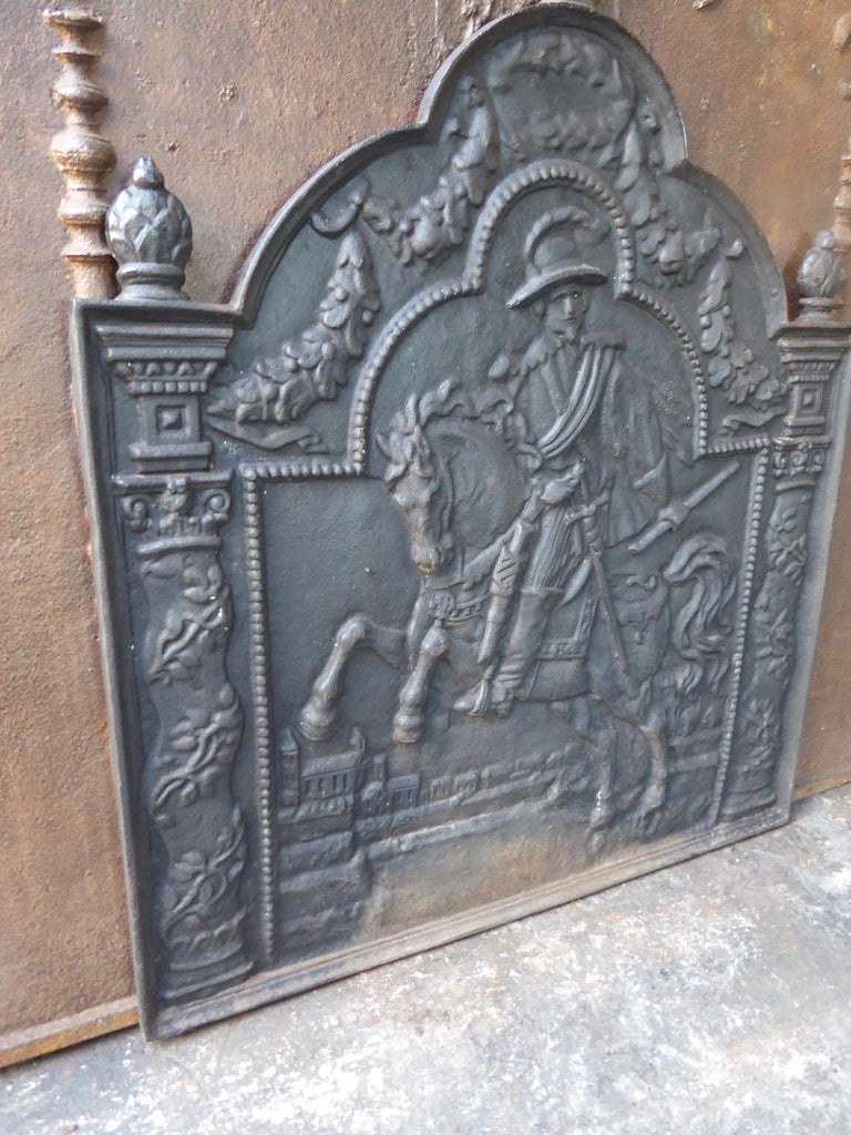 Iron French Louis XIV Style Fireback For Sale