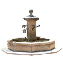 French Louis XIV Style Fountain Hand-Carved in Limestone, Provence, France