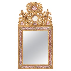 French Louis XIV Style Giltwood and Verre Eglomisée Mirror, circa 1850