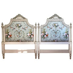 French Louis XIV Style Grey Painted Carved King Headboard